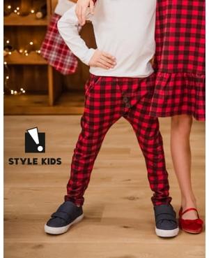 spodnie świąteczne w kratę